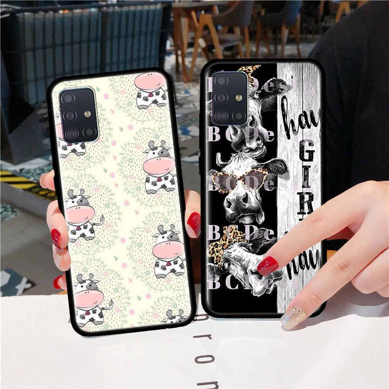 Mucca in bianco e nero Per Il Caso di Samsung Galaxy A51 A71 M31 A41 A31 A11 A01 M51 M21 M11 M40 Nero molle Della Copertura Del Telefono Fundas
