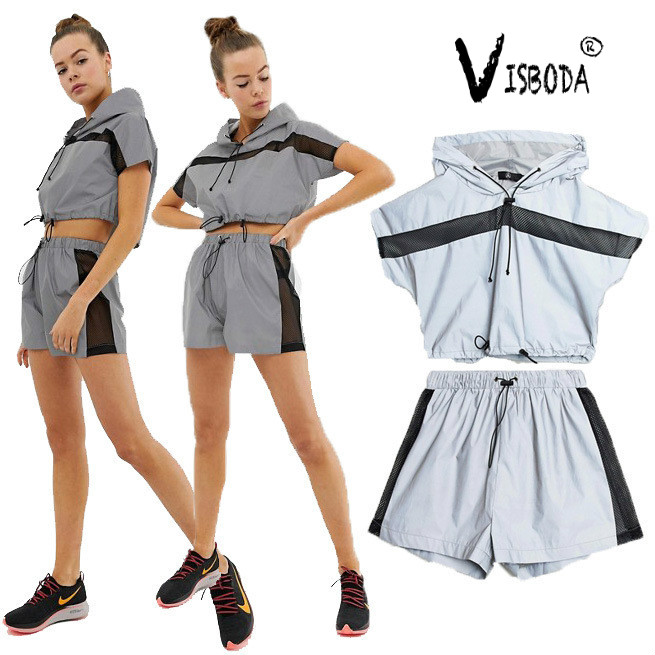 Women Reflective Cropped Hooded Top And Shorts 2 Piece Set Summer Fashion Female Cool Short Sleeve Shirt Tracksuit Plus Size