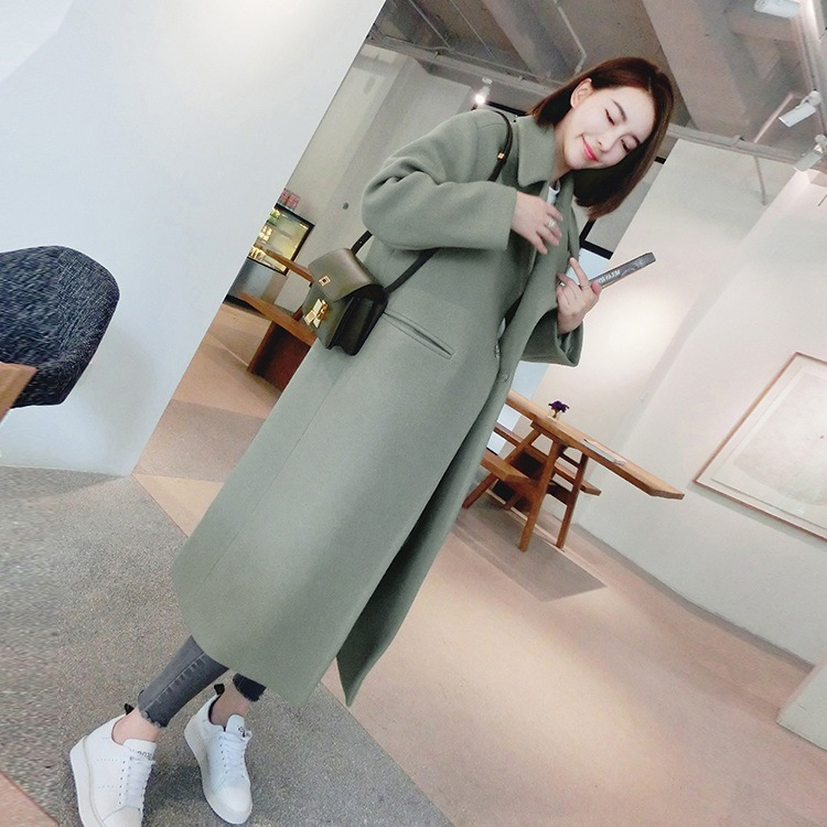 Fashion Women Wool Coat Slim Wool & Blend Solid Color Long Coat Turn-down Collar Warm Tops Mujer Streetwear Outwear