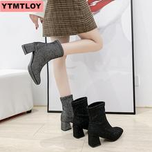 цена на Women's black ankle boots 2019 fashion spring and autumn stretch boots chunky high-heeled thick with square head women's boots