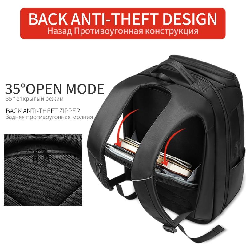 EURCOOL voyage sac à dos hommes multifonction grande capacité mâle Mochila avec Port de charge USB 17.3 pouces ordinateur portable école sacs à dos - 5