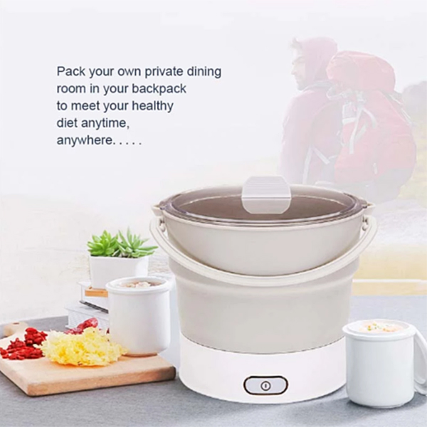 Folding Hot Pot Electric Skillet Kettle Heated Food Container Travel Cooker Tool DC156
