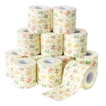 12PCS Household Bathroom Toilet Paper Napkins Printed Small Roll Paper Does Not Block the Toilet