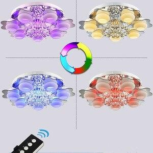 Image 2 - Candelabros de cristal led minimalistas de 3/5 colores, para dormitorio, Control remoto, lámpara de techo montada en superficie de cristal, accesorio