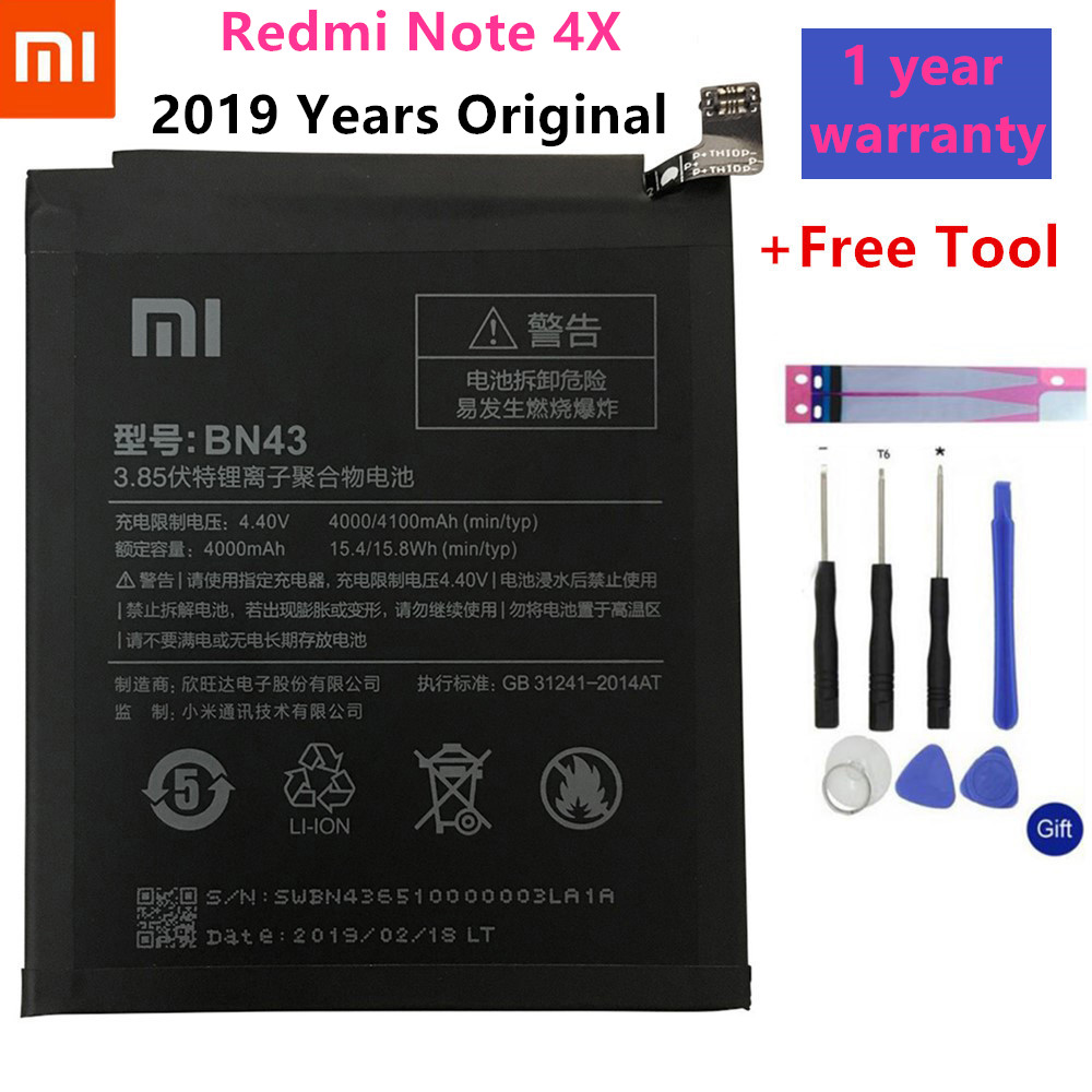 Xiaomi Bn43-Battery Note-4x3g Global 4100mah Original For Redmi 32g/for Note-4/Global/Snapdragon/625