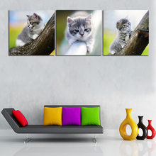 HD Prints Art Decor Canvas Painting 3 Panel Animal Cat and Dog Poster Home Living Room Mural Decor Nordica Infantil COLOMAC(China)