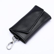 Brelok z prawdziwej skóry portfel w przegródką na klucze Unisex solidny portfel na klucze torba na organizery samochodowa gospodyni etui z miejscem na karty torba na karty tanie tanio aiboduo Skóra
