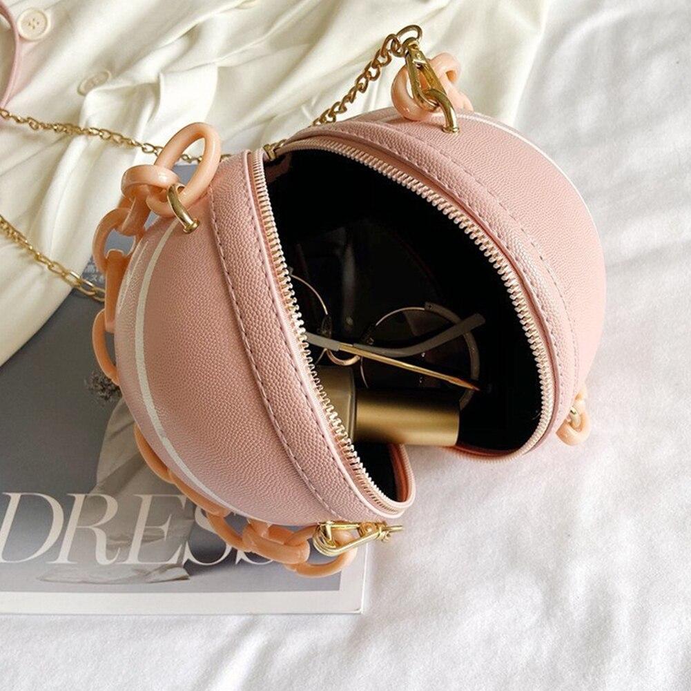 Индивидуальная Женская баскетбольная сумка из искусственной кожи, новинка 2020, кошельки для подростков, круглые сумки на плечо, женская сумка через плечо с цепочкой-4