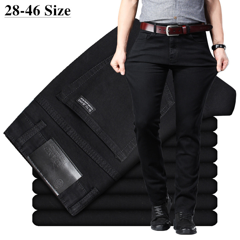 Plus Size 40 42 44 46 Men's Classic Black Straight Jeans Elastic Slim Fit Denim Jeans Trousers Business Casual Office Work Pants