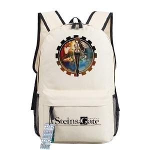 Image 3 - Mochila de Cosplay Steins Gate, bolso para adolescentes, mochila de Anime Oxford, bolsa de viaje Unisex para ordenador portátil, regalo