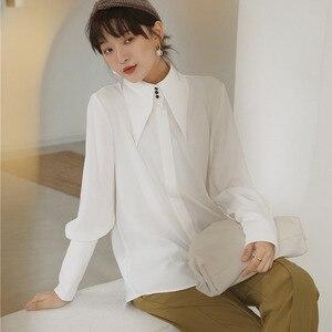 LANMREM, cuello puntiagudo blanco, manga larga, puño recto, camisa de mujer de un solo pecho, Casual, moda Simple, primavera 2020, nuevo TD141