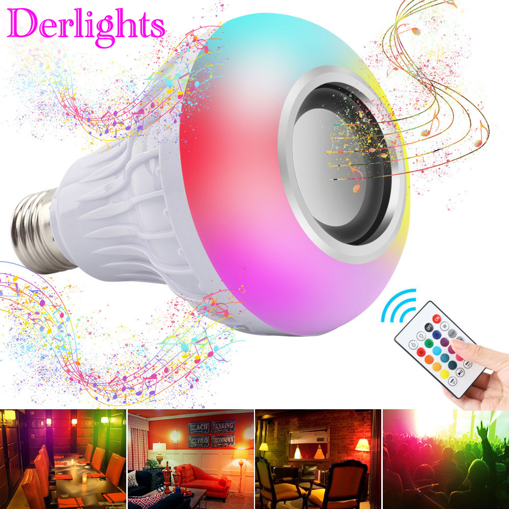 RGB Wireless Bluetooth Speaker Bulb Music Playing E27 LED Light Smart Home Decoration RGB Lamp With Remote Control