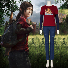 The Last of Us  Ellie Costume Adult Halloween Custom Red T-shirt Suit for Women Hot Game Fancy Shirt Ellie Outfit ellie goulding ellie goulding halcyon