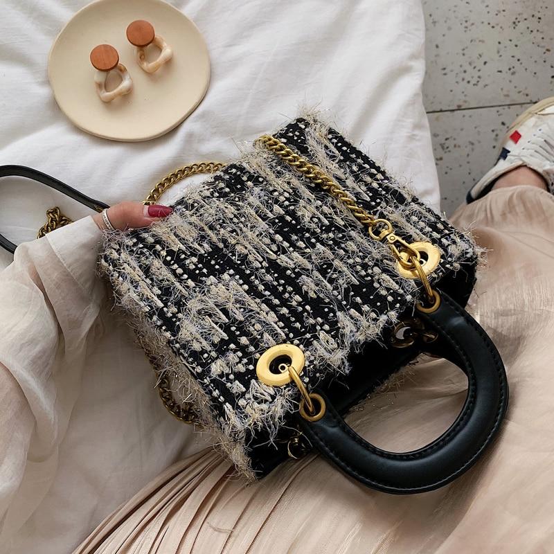 Elegant Female Tote Bag 2019 Fashion New High Quality Woolen Women's Designer Handbag Chain Shoulder Messenger Bag Bolsos Mujer