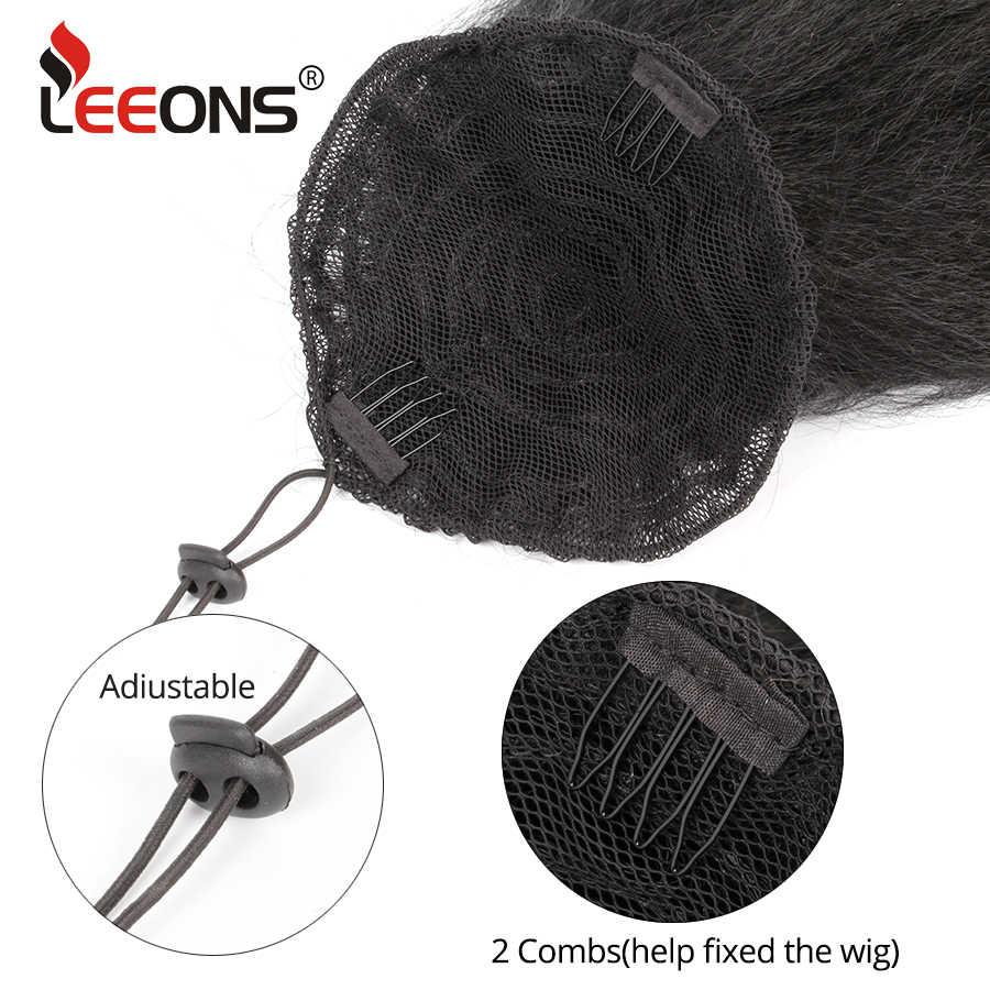 Leeons barato envoltório sintético em torno de longo kinky cabelo reto rabo de cavalo peruca grampo extensões de cabelo natural kinky afro puff rabo de cavalo