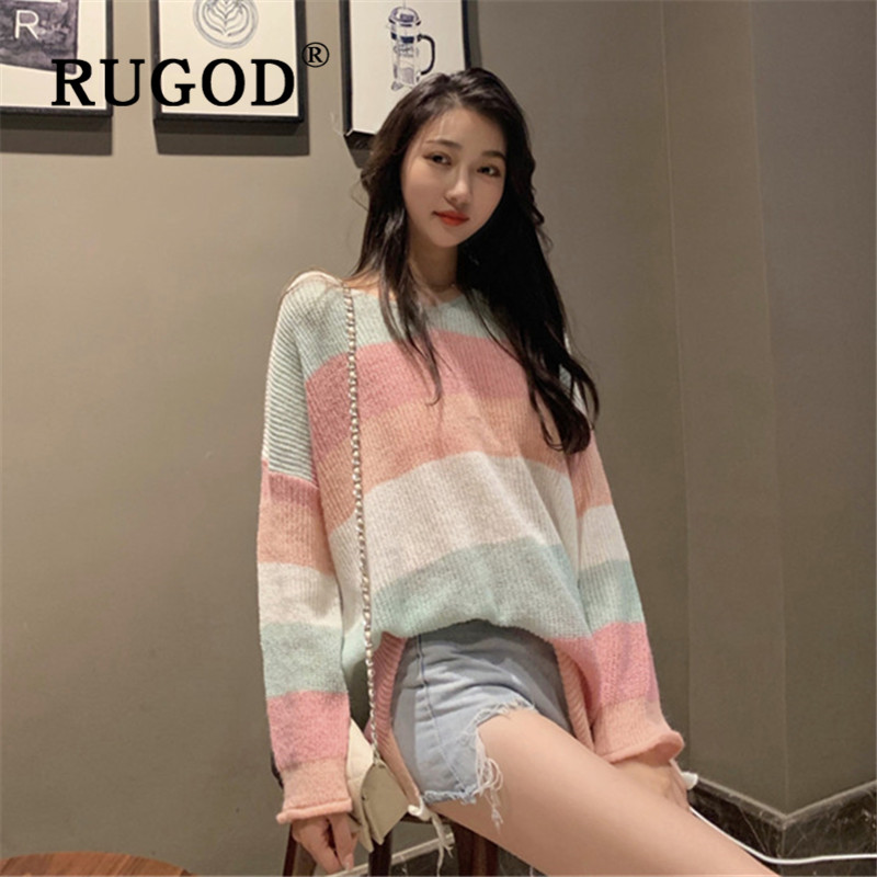 RUGOD Women 's Sweater V-neck Rainbow Contrast Color Long Sleeve Knitted Sweaters Loose Fluffy Style 2019 Jumpers