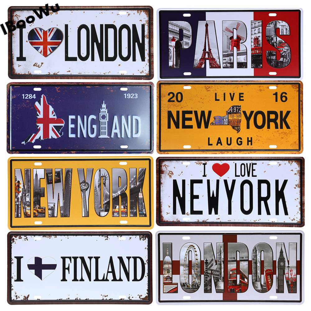Worldwide Popular City License Plate Poster Vintage Wall Decor North America Metal Tin Sign Plaques Poster 15x30cm
