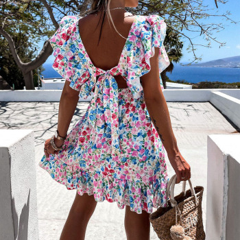 Cute Floral Print Sundress For Women With Ruffle Square Collar Back Ties And Boho  Style, A Line Beach Party Dress 1