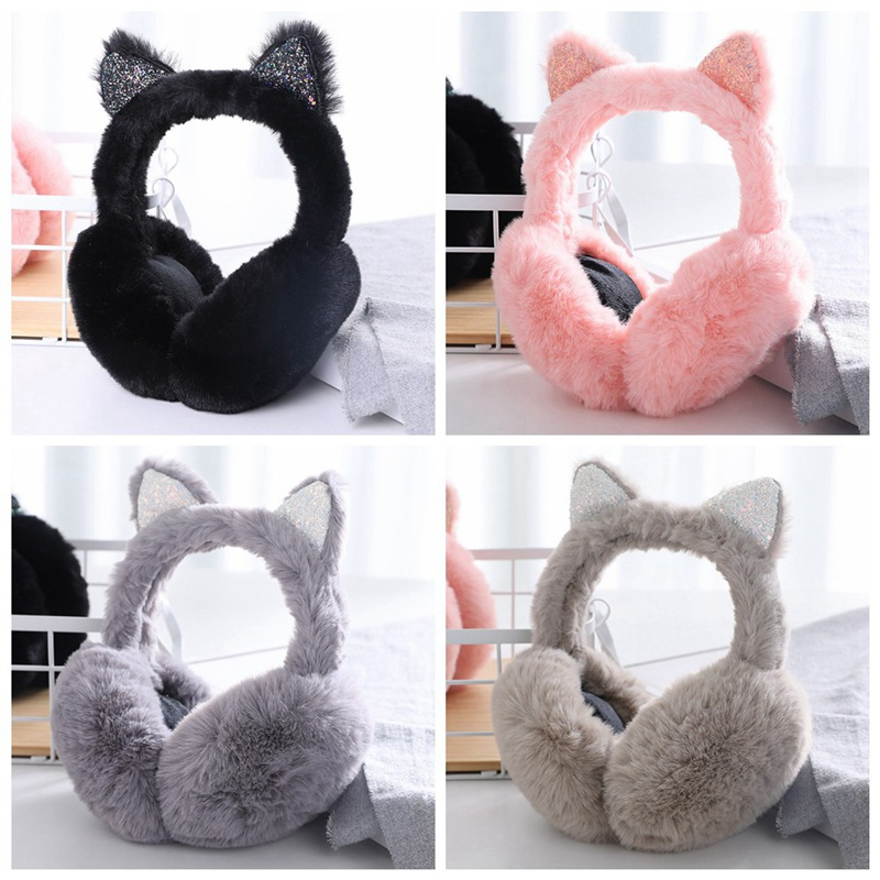 Vintage Winter Autumn Faux Fur Earmuffs Cute Cat Ear Earflap Plush Earmuff For Girls Ladies Women Hairbands Shiny Ear Muffs