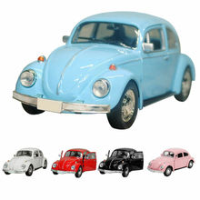 Vintage Beetle Diecast Pull Back juguete de modelo de coche niños regalos Decoración de mesa superior.