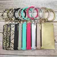 ZWPON Woman Circle PU Vegan Leather Key Chain High-capacity Phone Leopard Sunflower Detachable Zipper Clutch Wallet Card Purse