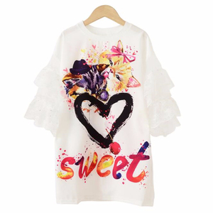 3-18 Years Teens Girls Fun Graffiti Double-sided Digital Printing Yarn Sleeve T-shirt Dress for Children Cute Clothes
