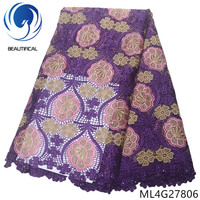 BEAUTIFICAL nigerian lace fabrics Fashion embroidery chemical lace beads fabric with stones for dress guipure lace ML4G278