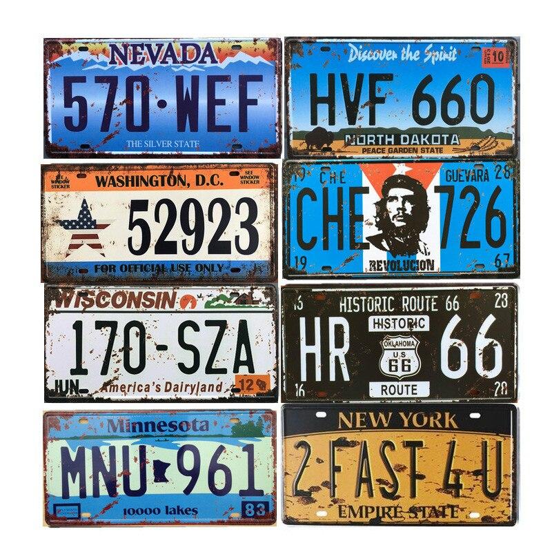 American Car License Plate Metal Plate Vintage Car Number Metal Tin Sign Bar Pub Cafe Garage Decoration Wall Sticker Art Poster