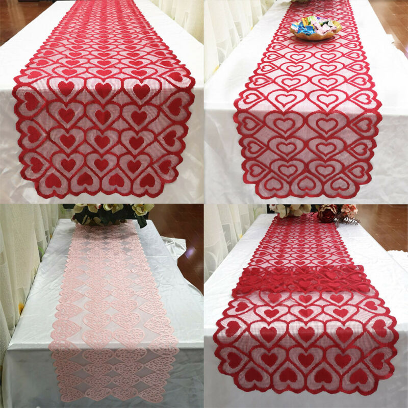3 Styles Valentine's Day Red Table Cloth Disposable Tablecloth Wedding Birthday Party Lace Fabric Tablecloth Table Runner