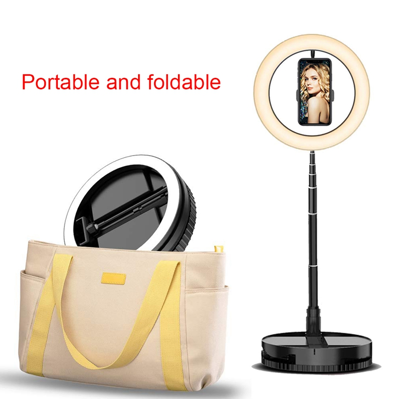 Retractable LED Selfie Ring Light with Stand and Phone Holder Stretch Portable for Outdoor/Live Stream/Makeup Flashes     - title=