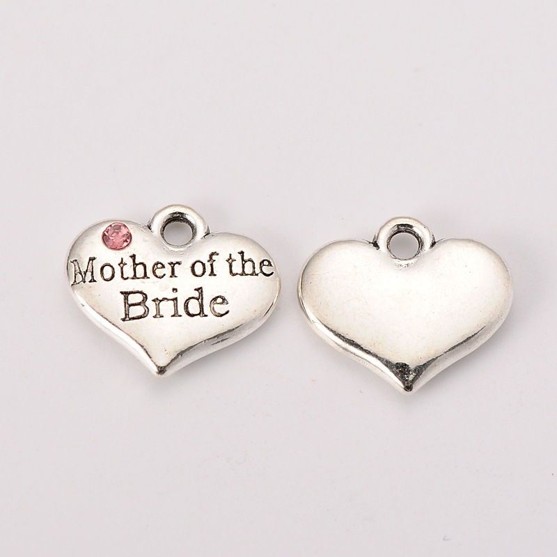 Heart with Bridesmaid set with Clear Crystal Wedding Tibetan Silver Charms,