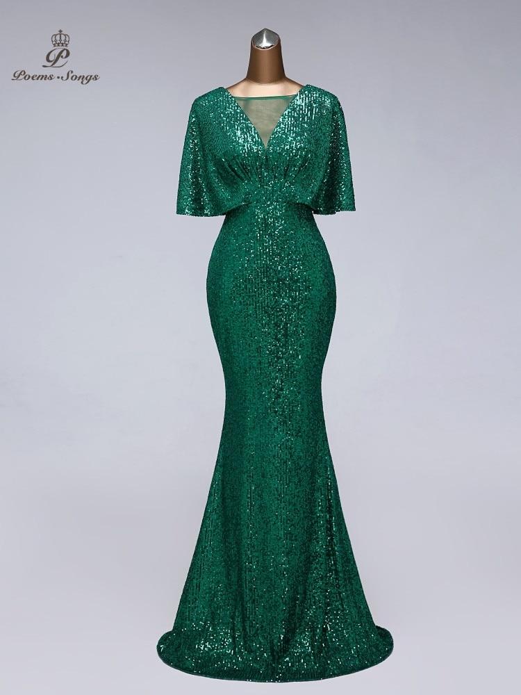 Evening-Dress Prom-Dresses Short-Sleeves Sequin Vestidos-De-Fiesta Women Sexy for Green