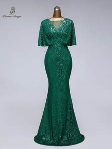 Evening-Dress Prom-Dresses Short-Sleeves Sequin Vestidos-De-Fiesta Sexy Women for Green