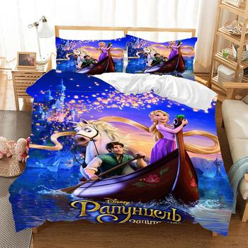 Disney Rapunzel Princess Prince Bedding Set Queen King Size Bed Set Couple Children Girl Duvet cover Pillowcases Comforter cover фото