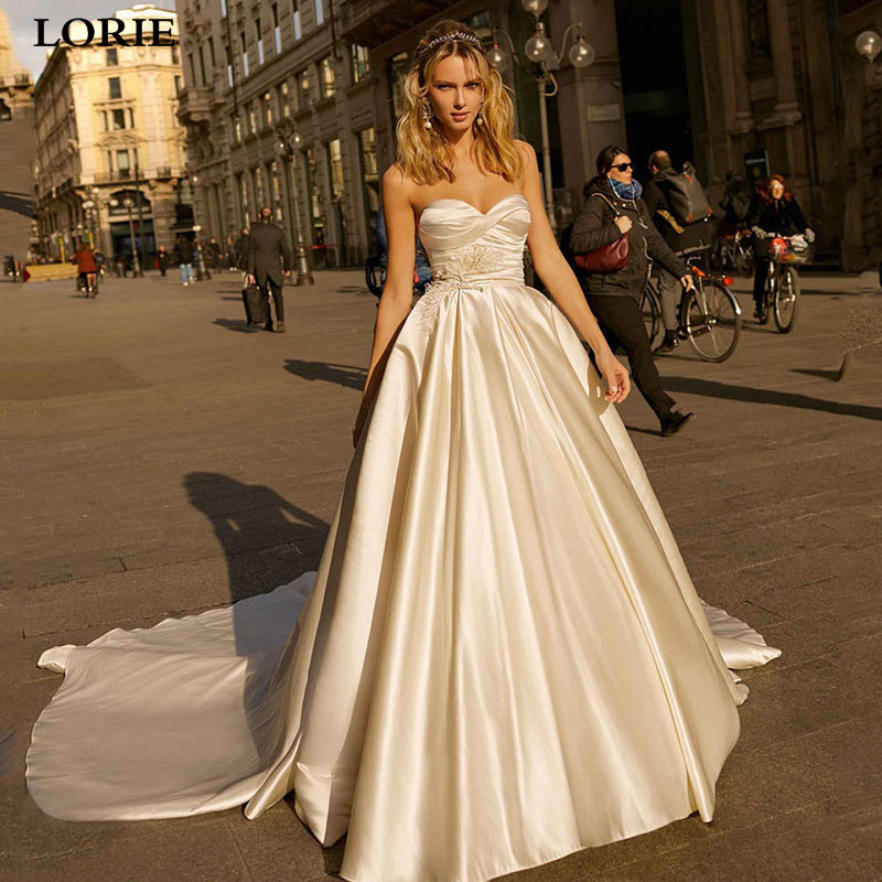 LORIE Princess Wedding Dress Taffeta With Feather Lace Sweetheart Boho Bride Dress Detachable Train Vestidos De Novia