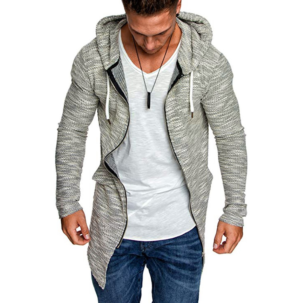Coolred-Men Relaxed-Fit with Zip Hood Cotton Oversize Cardigan Trench Coat