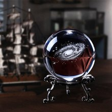 6CM Diameter Globe Galaxy Miniatures Crystal Ball 3D Laser Engraved Quartz Glass Ball Sphere Home Decoration Accessories Gifts(China)