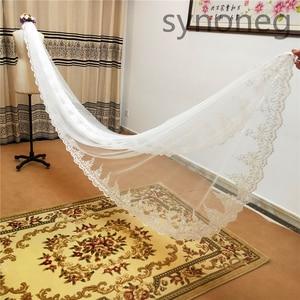 Image 4 - Veu de noiva longo Lace Appliques One Layers 3M 4M 5MLong Veils Wedding Veils  With Comb Wedding Accessories Bridal Veils
