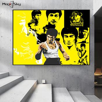Klasyczne sztuki walki KungFu Superstar Bruce Lee plakaty i druki na płótnie malarstwo abstrakcyjna dekoracja na ścianę salon dekoracji wnętrz tanie i dobre opinie Magic sky CN (pochodzenie) Wydruki na płótnie Pojedyncze PŁÓTNO Wodoodporny tusz Gwiazda filmowa bez ramki Nowoczesne