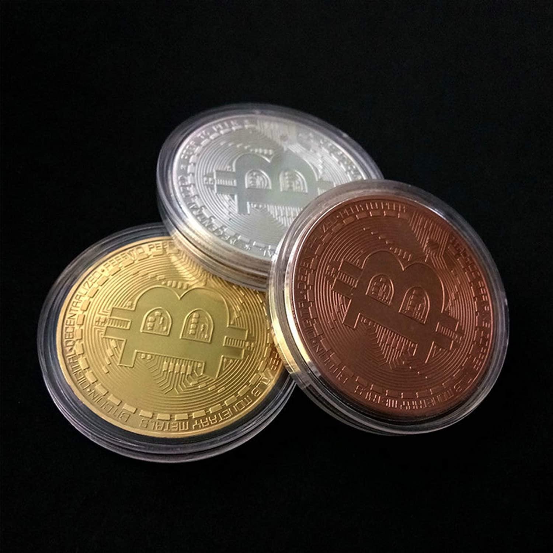10Pcs Gold Plated Bitcoin Coin Collectible Art Collection Gift Physical Commemorative Casascius Bit BTC Metal Antique Imitation 2