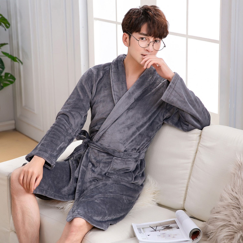 Elegant Men Solid Gray Winter Kimono Robe Gown Sleepwear Casual Soft Intimate Bath Gown Nightgown Keep Warm Homewear Nightwear