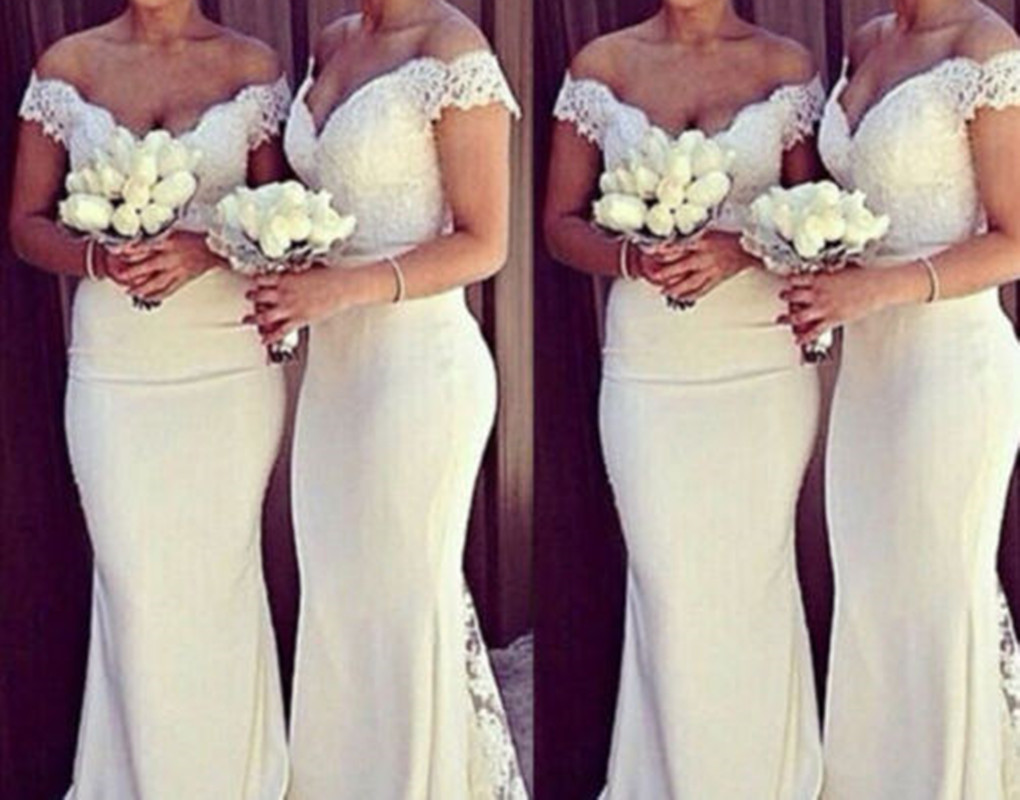 Women Bridesmaid Dress Lace Flower Formal Long Dresses for Wedding Evening Party
