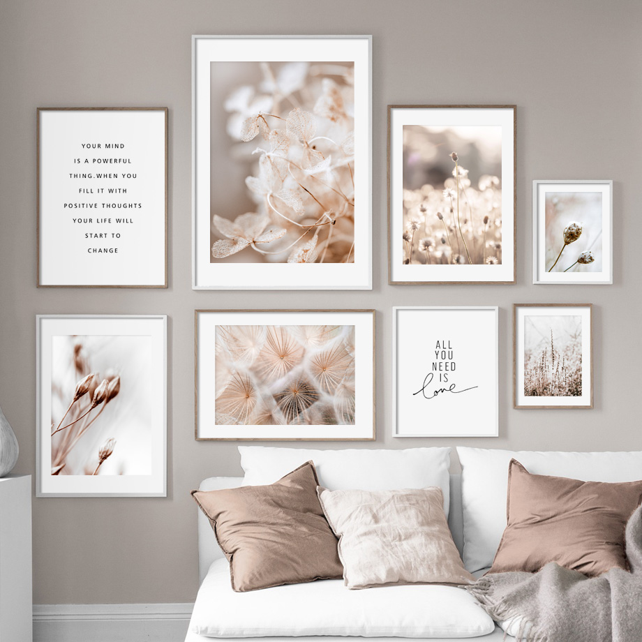 Winter Flower Dandelion Plant Landscape Wall Art Canvas Painting Nordic Posters And Prints Wall Pictures For Living Room Decor image