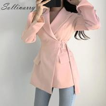 Sollinarry Fashion Long Blazer Coat Women 2019 High Waist Belt Tie Autumn Office Jackets Female Pockets Coats Winter Outwear