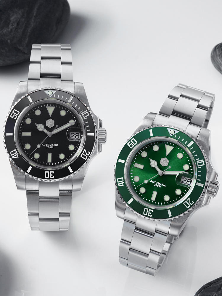 Ceramic Bezel Mechanical-Watches Diver Sapphire Crystal 20bar San Martin Window Water-Ghost