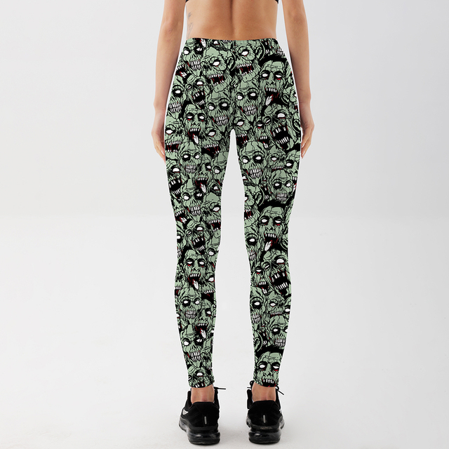 Qickitout Leggings  Drop shipping Women Fashion Leggings Sexy Green zombie Printing LEGGINGS Size S-4XL Wholesale 3