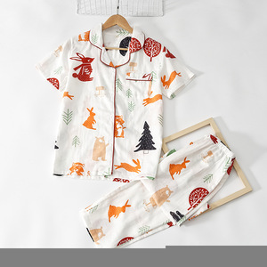 Image 4 - بيجامات نسائية صيفية جديدة موضة 100% ملابس نوم قطن شاش الأعلى مبيعاً بأكمام قصيرة طقم بيجامات كورية ملابس نوم نسائية