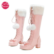 Heel-Side Lace-Up Princess-Shoes High-Boots Chunky Lolita Winter Warm Zipper Fur PU Bowtie