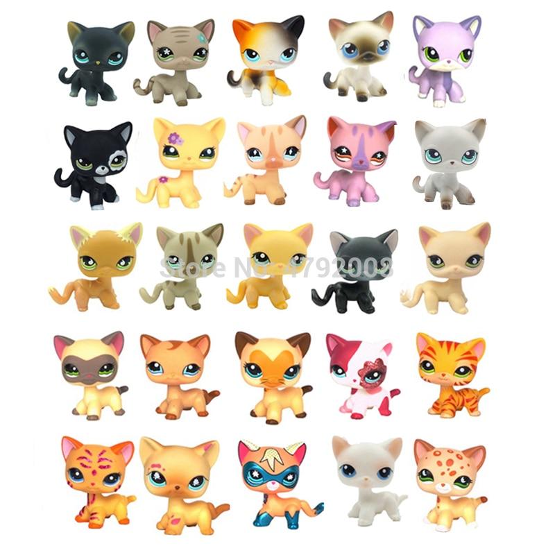 Lps Cat Rare Pet Shop Toys Standing Red Short Hair Cat #2291 Grey #5 Black White 1498 Old Original Animal Toys For Children