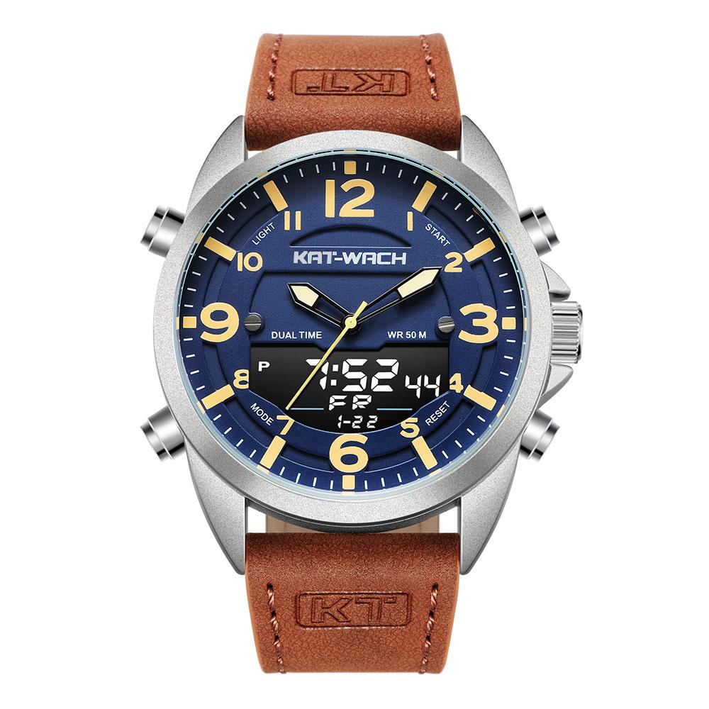 KT Luxury Watch Men 2020 Top Brand Leather Watches Man Quartz Analog Digital Waterproof Wristwatch Big Watch Clock Klok KT1818